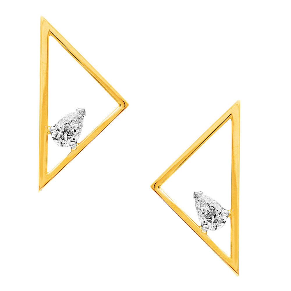 Gold triangle earrings with floating pear cut diamonds