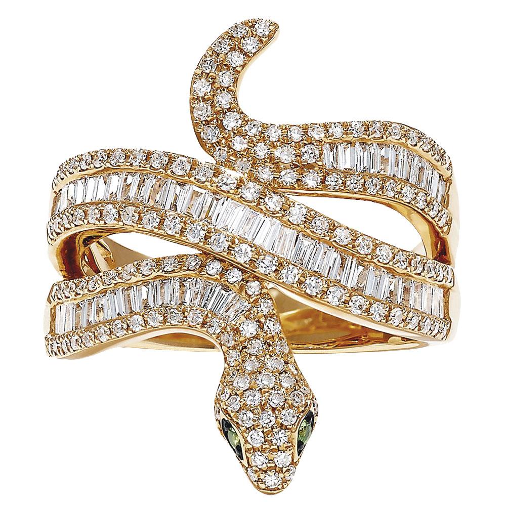 Yellow gold snake diamond ring