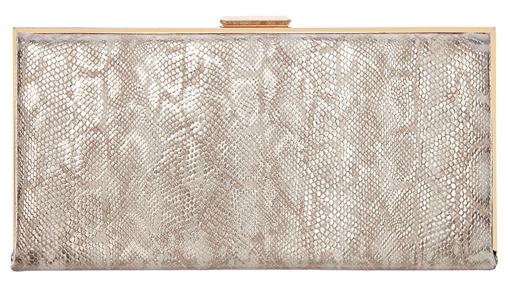Metallic gold snakeskin clutch