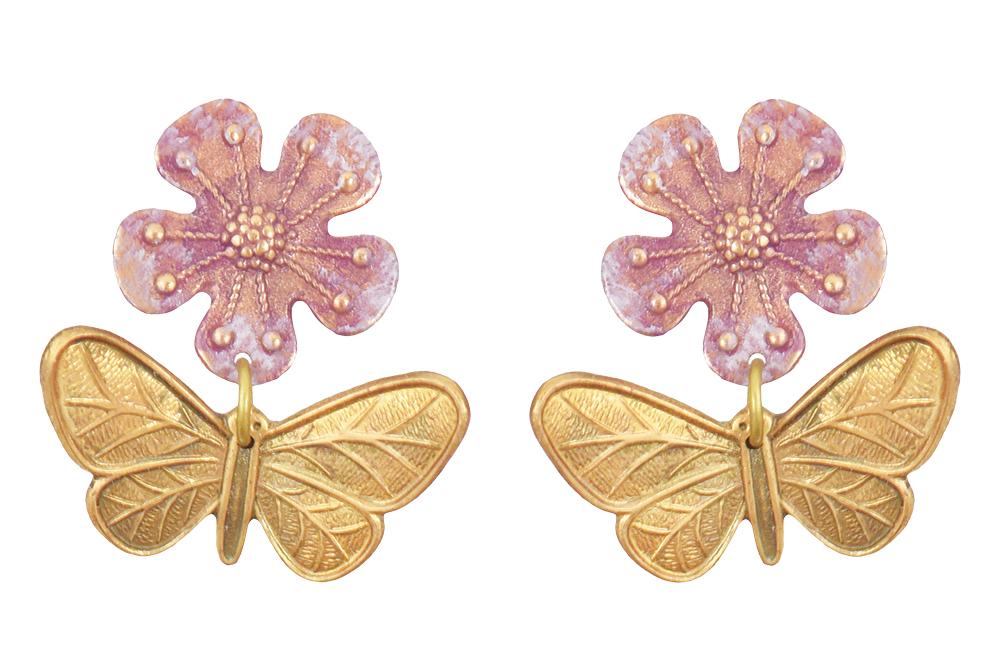 Flower and butterfly earrings