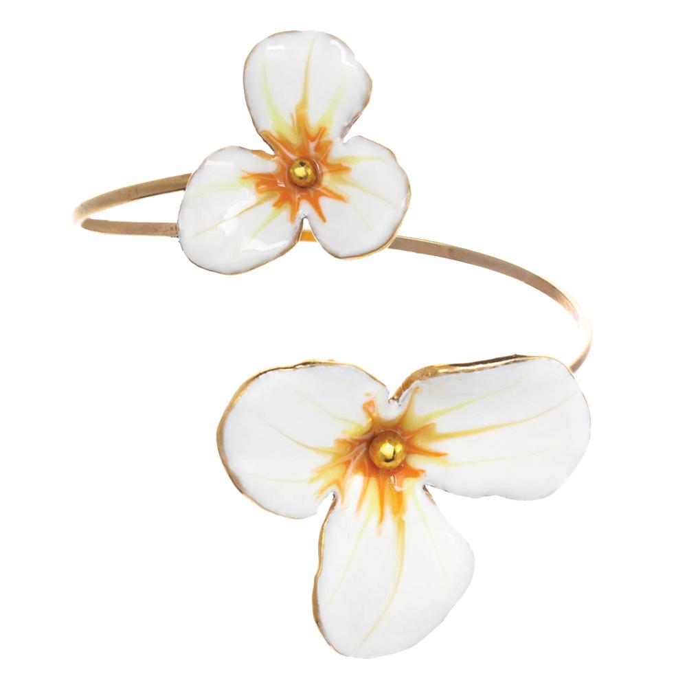 Porcelain double flower cuff bracelet