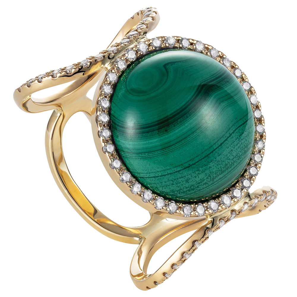 18k yellow gold and malachite ring by Never Not