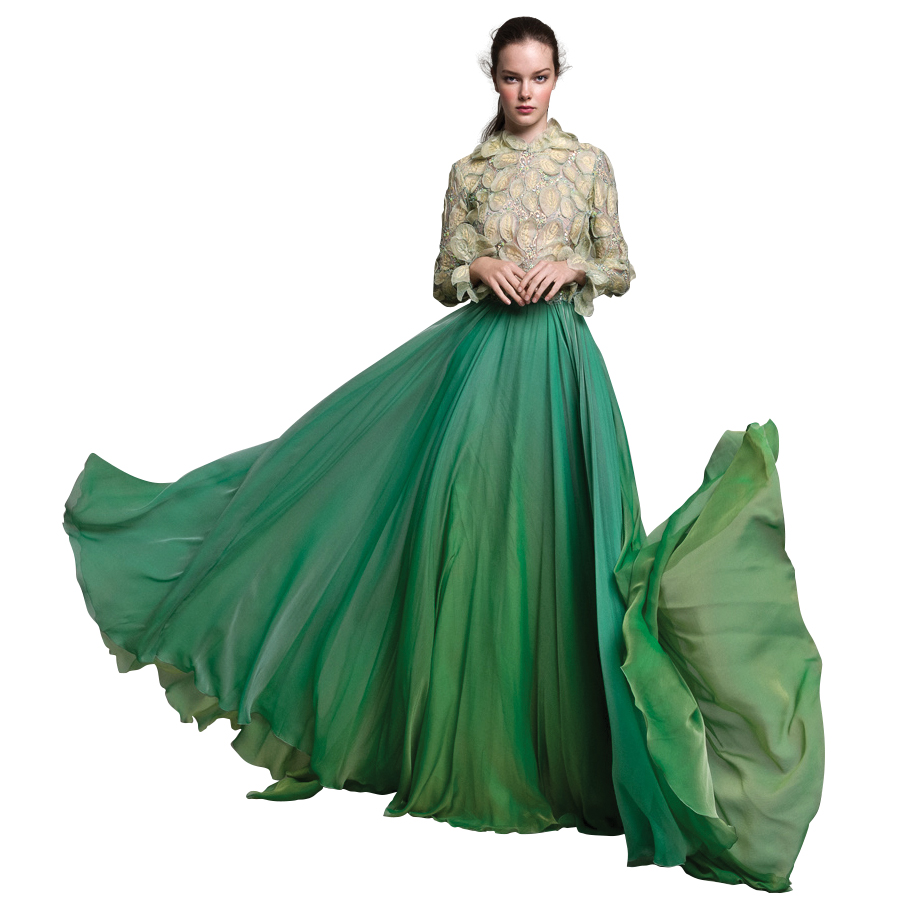 Daarlarna green wedding dress