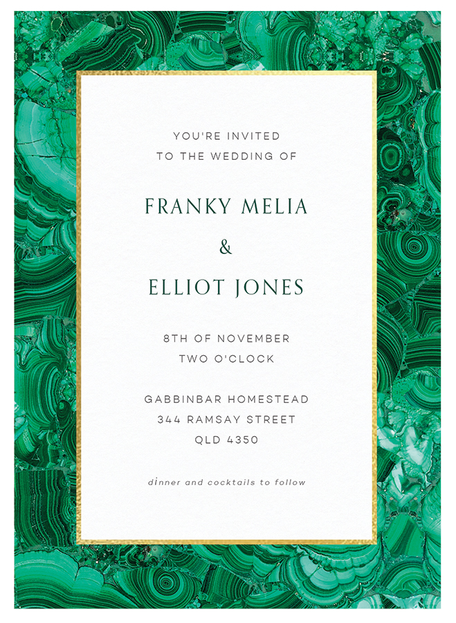 Malachite wedding invitation by Papier