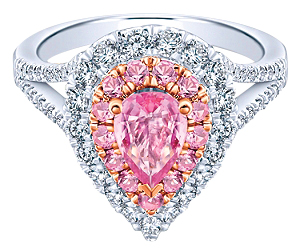 Pink sapphire engagement ring by Gabriel and Co