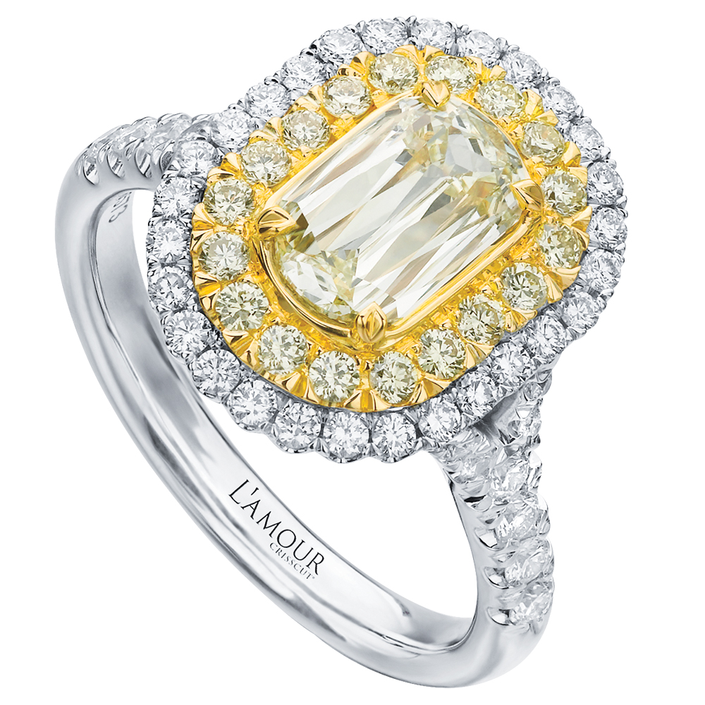 Yellow emerald engagement ring by Christopher Designs