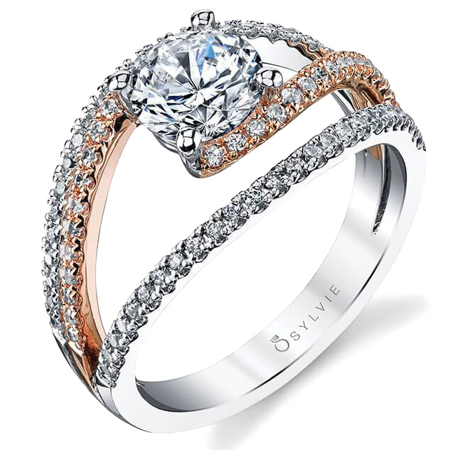 Mixed metal engagement ring by Sylvie Collection