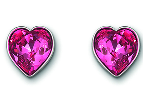 swarovski rose crystal heart shaped earrings