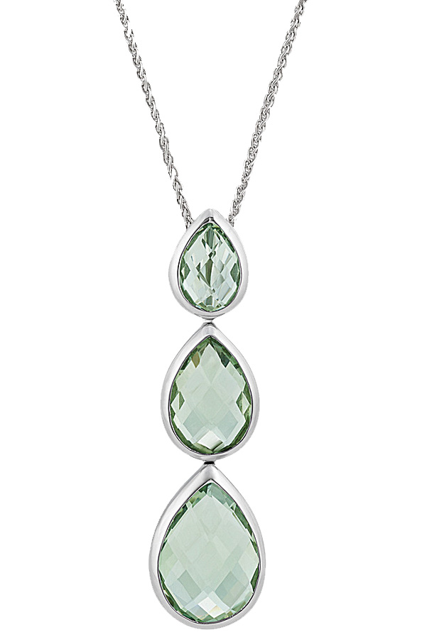 Green quartz necklace by Shane Co