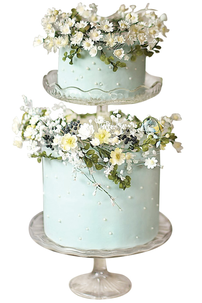 earl-accented cake with handcrafted garland and flowers by Amy Swann