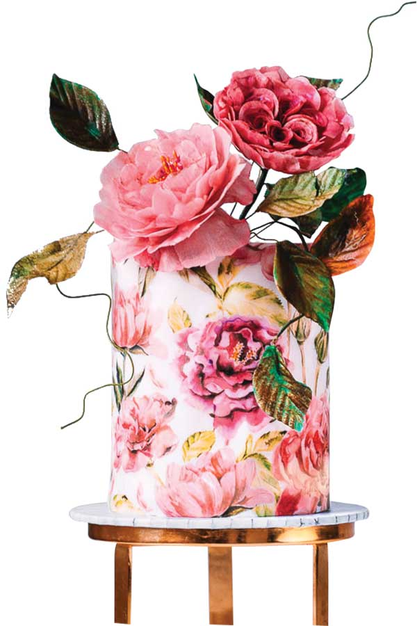 Floral wedding cake by Historias del Ciervo