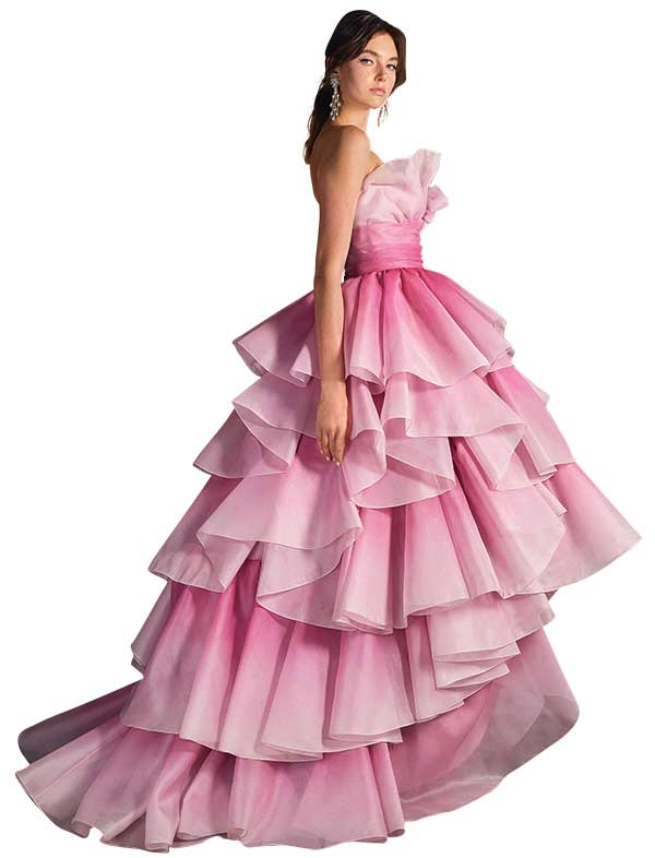 Pink Marchesa wedding gown