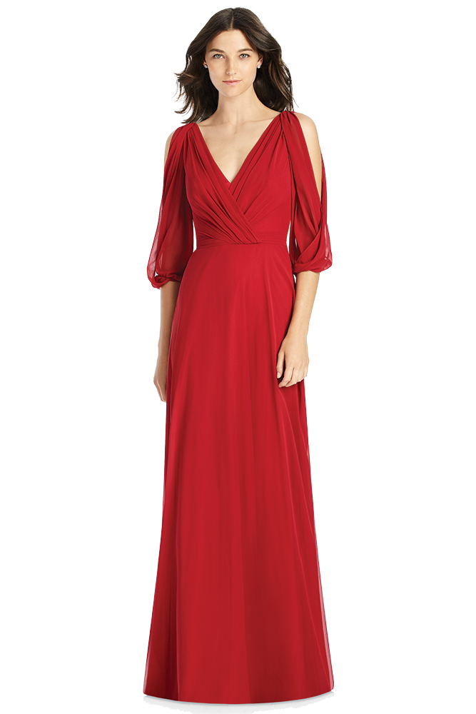 Red bridesmaid dress by Jenny Packham