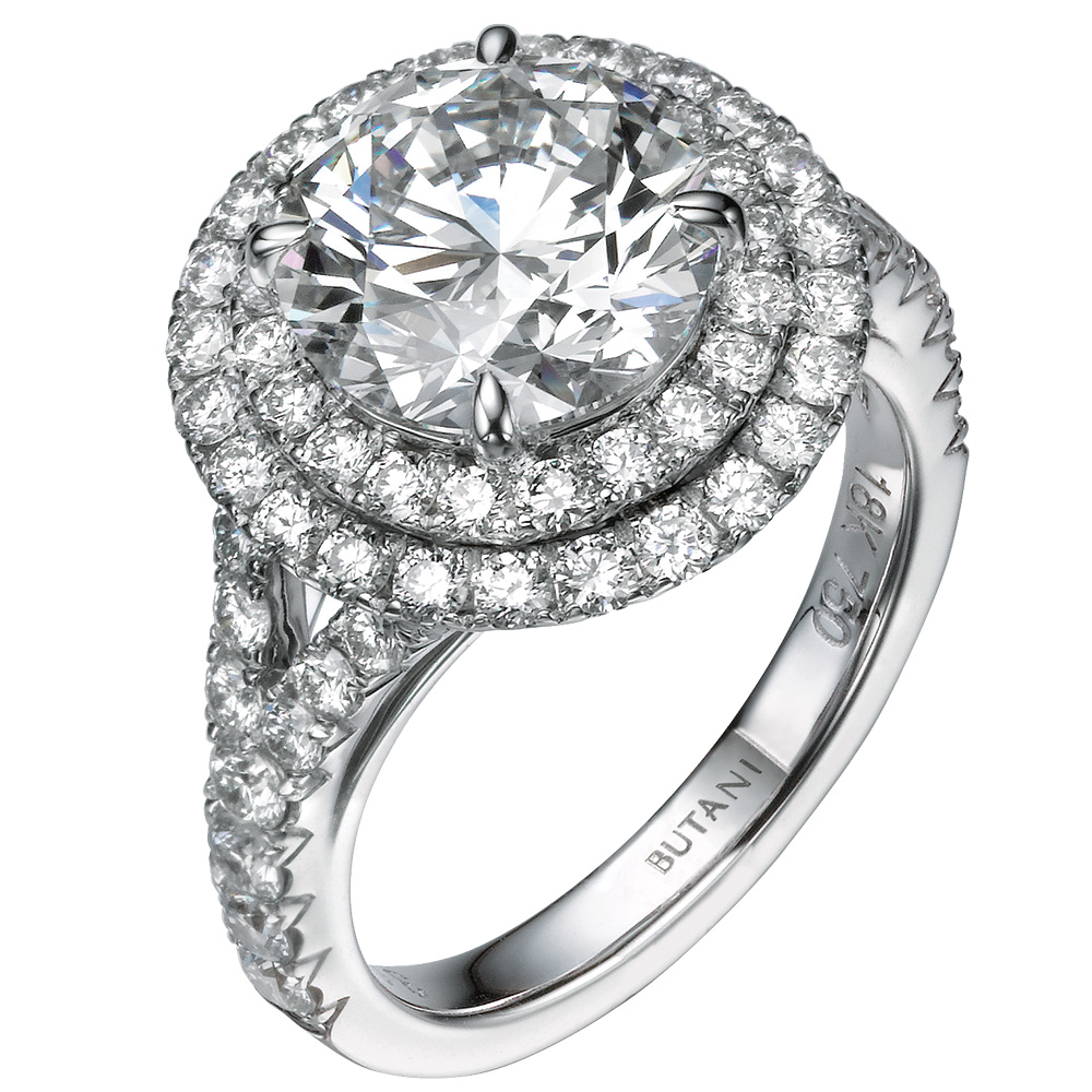 halo engagement ring by butani