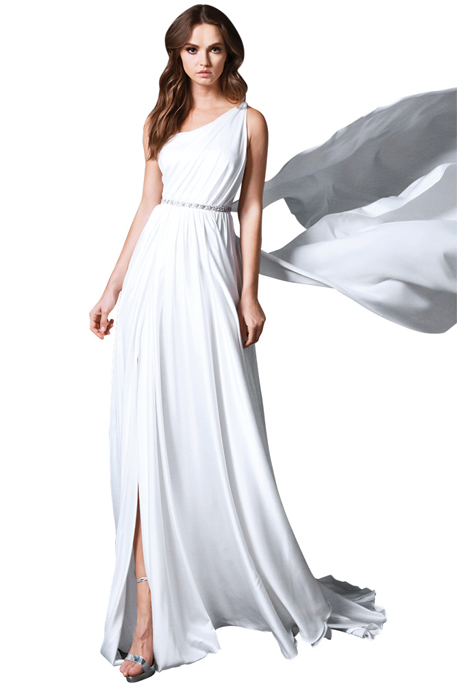 Romona New York cold shoulder wedding gown