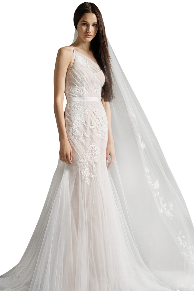 White by Vera Wang cold shoulder wedding gown