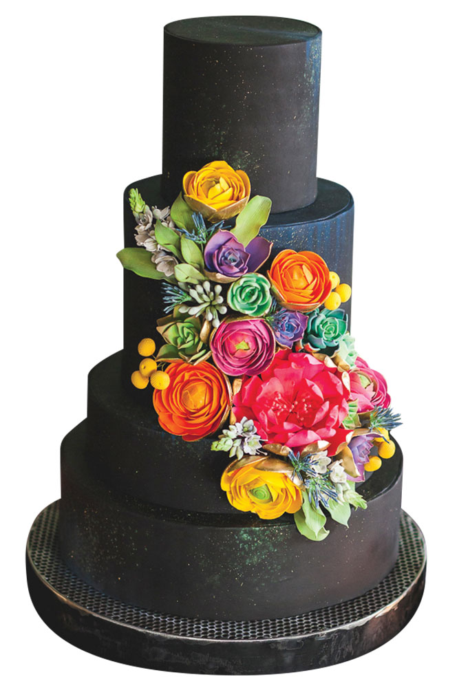 black floral wedding cake
