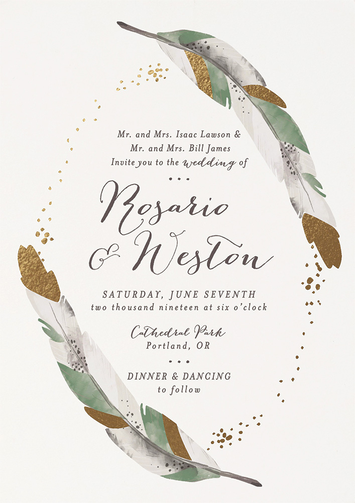Foil pressed wedding invitation by Pistols for Minted
