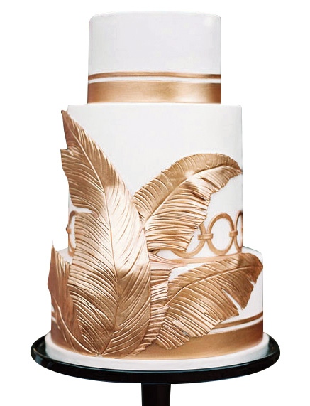 Three tier gold accented cake by The Butter End Cakery