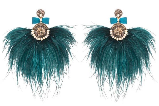 Turquoise feather earrings by Ranjana Khan