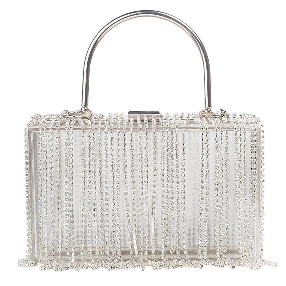 Clear handbag with rhinestone fringe