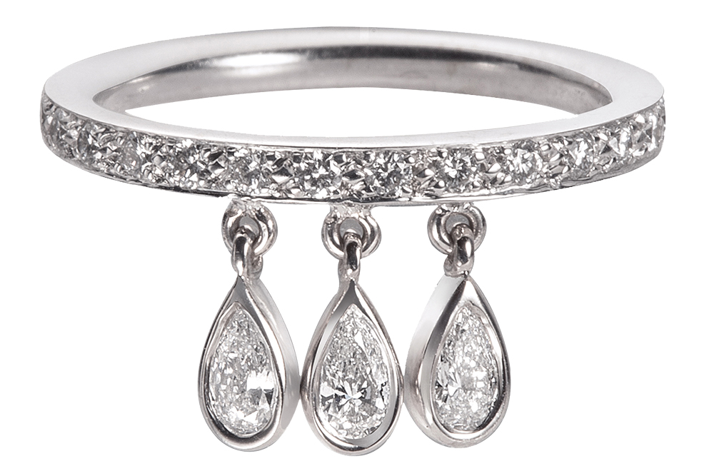 14k white gold ring with pear-cut dangling diamonds by Nora Kogan