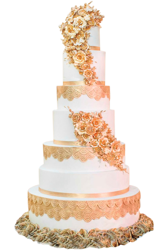 Gold wedding cake by Fancy Cakes by Lauren