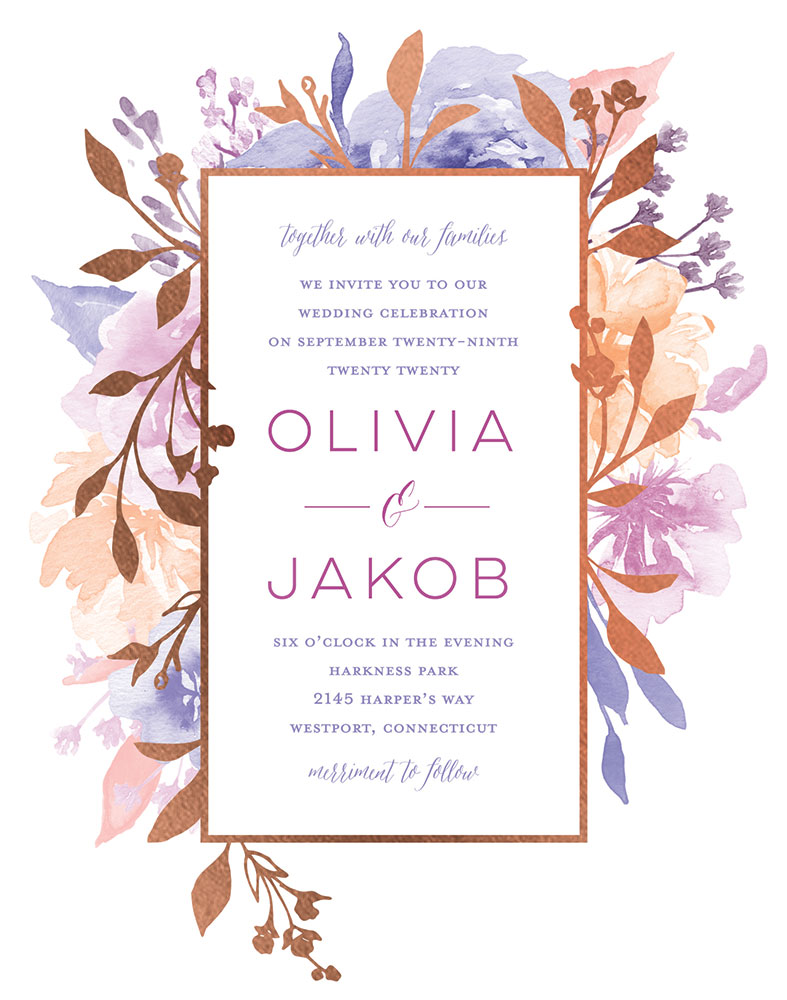 Delicate blooms invite at the wedding shop by Shutterfly