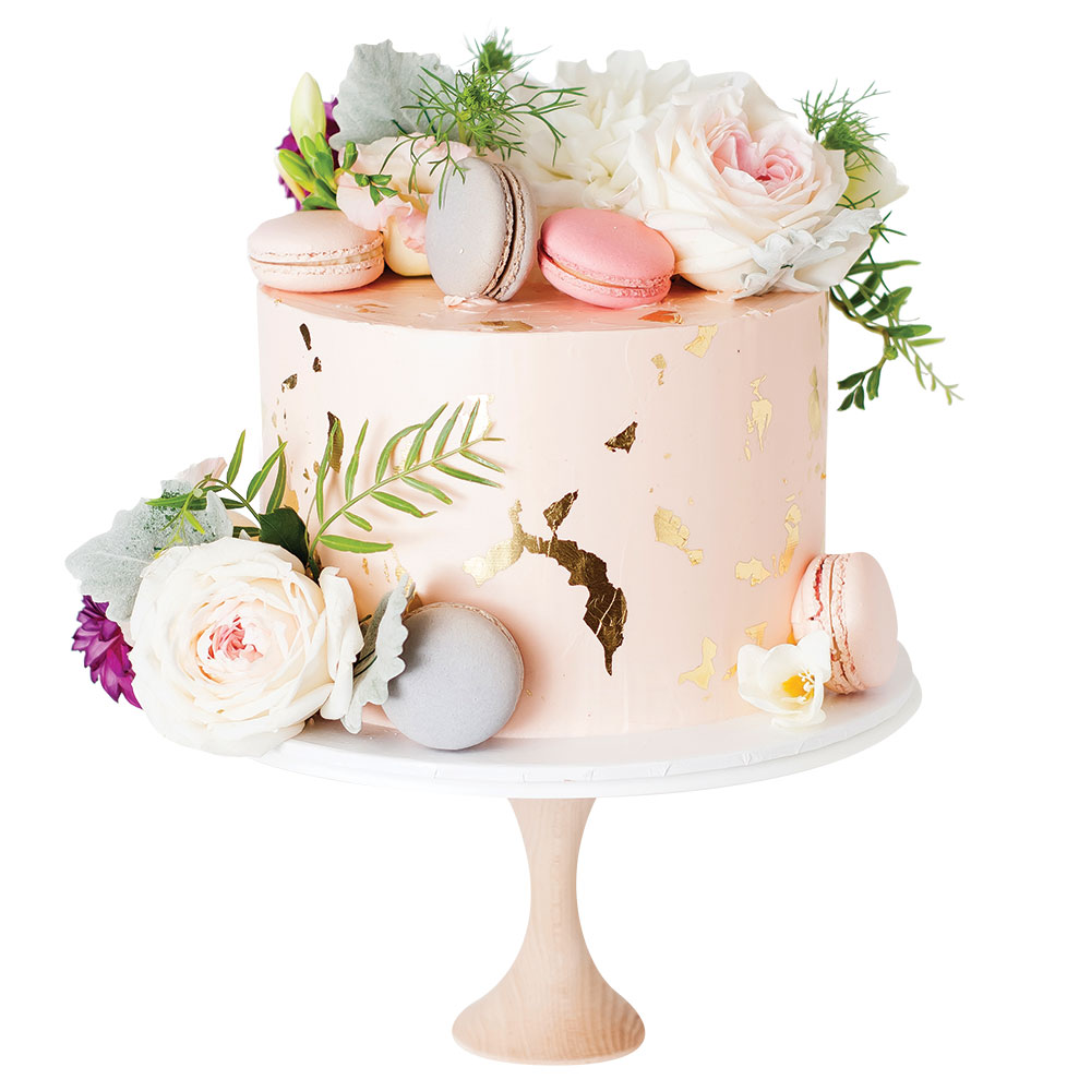 pink and gold wedding cake by cake ink