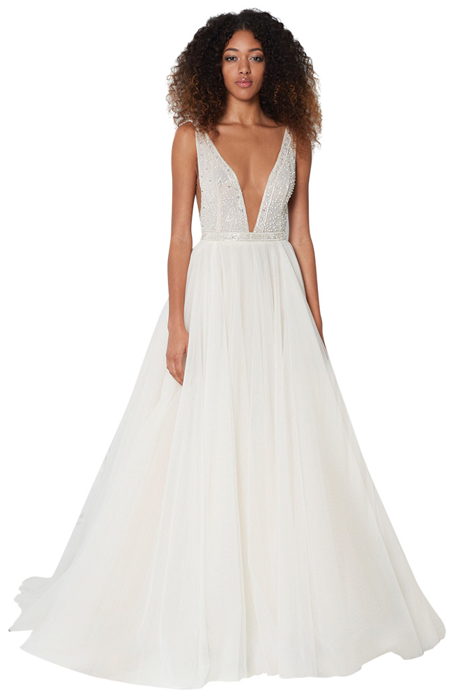monique lhuillier pearl wedding gown