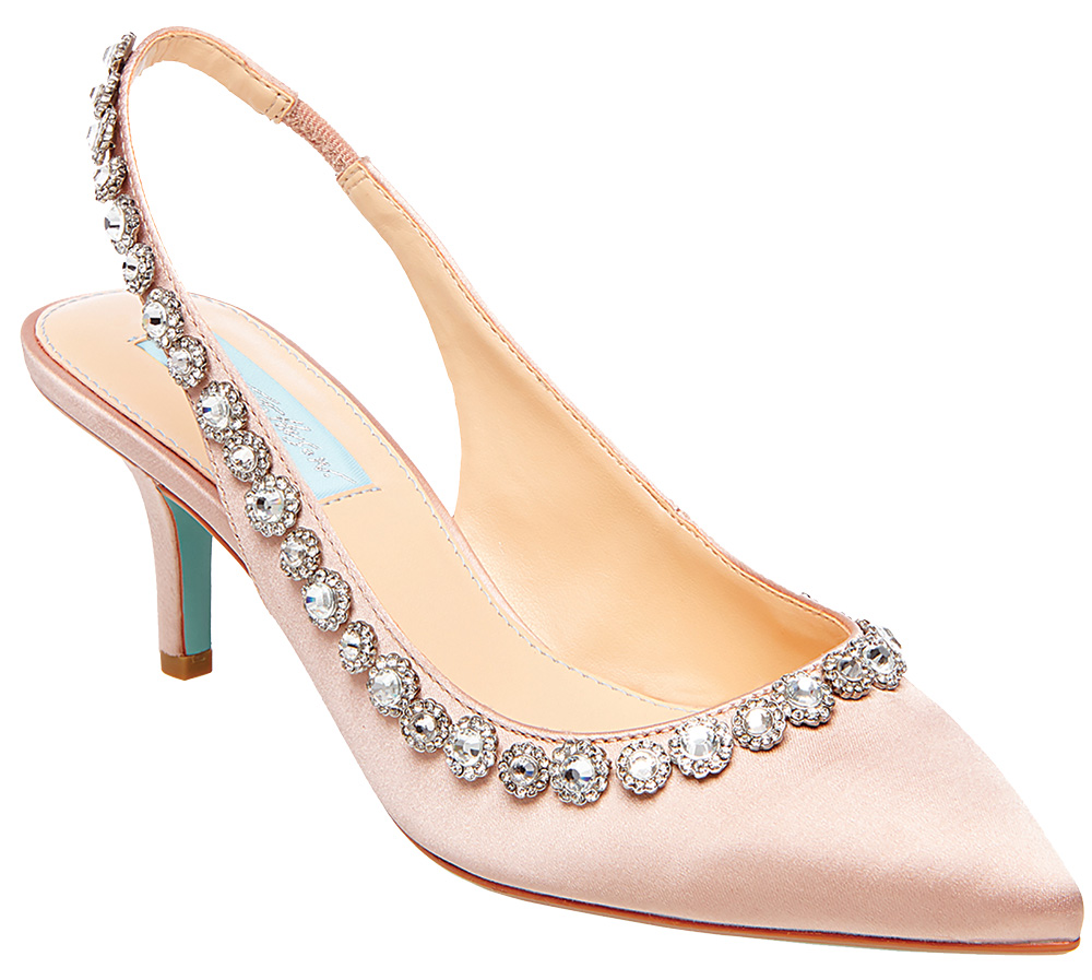 Jewel embellished pink slingback by Betsey Blue