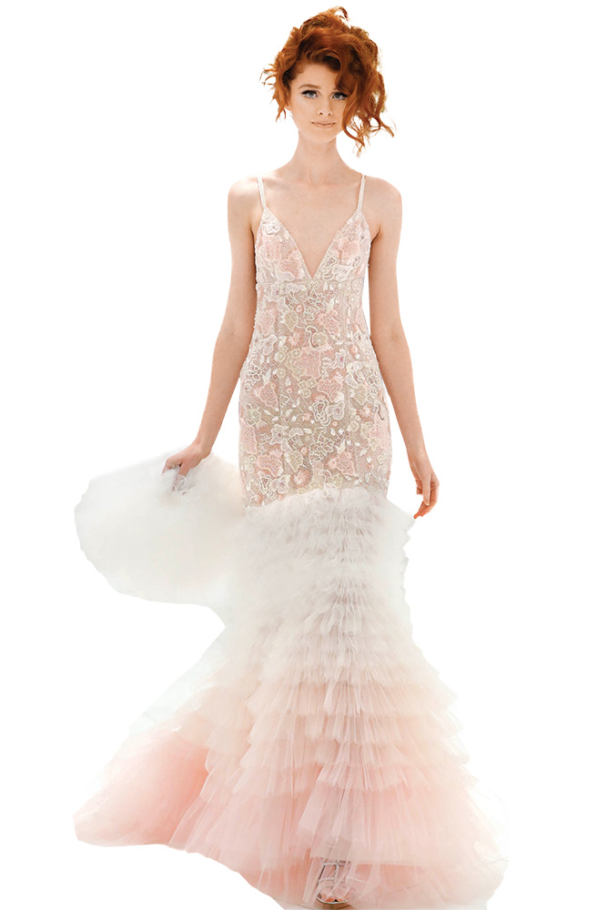 Pink wedding gown by Randi Rahm