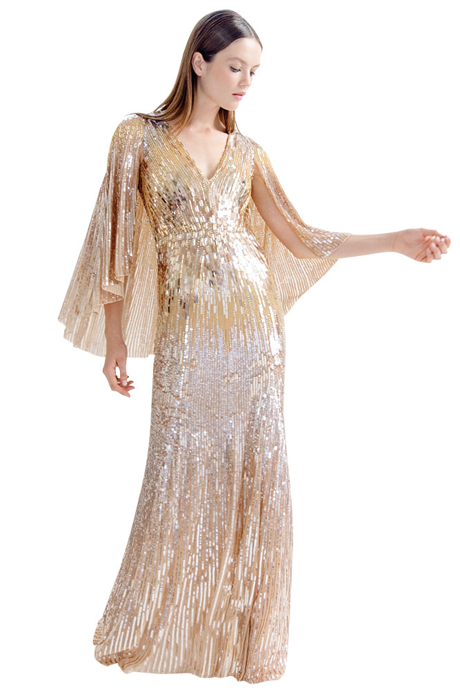Metallic gown by Jenny Packham