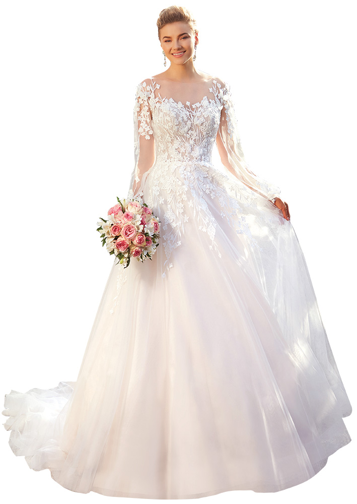 Bell Sleeve Wedding Gown by Kitty Chen