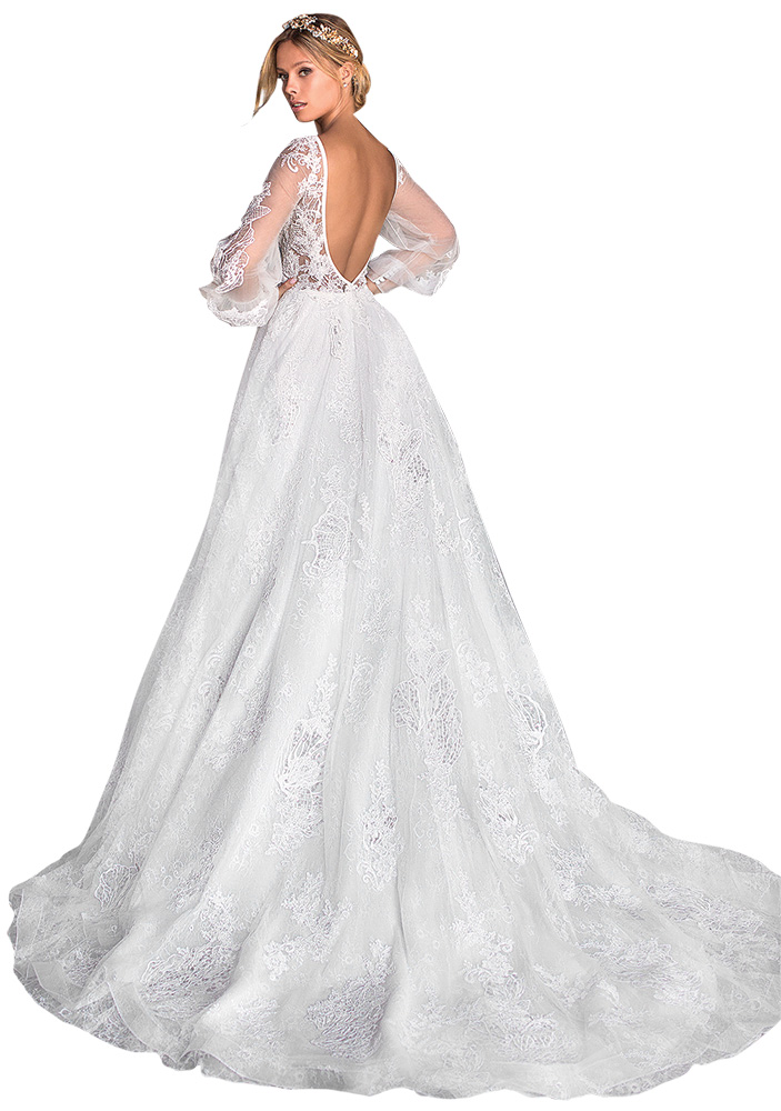 Bell Sleeve Wedding Gown by Moonlight Couture