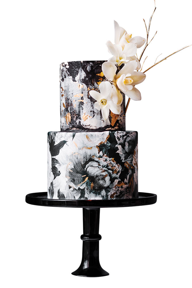Black and white watercolor cake with 3-d flowers