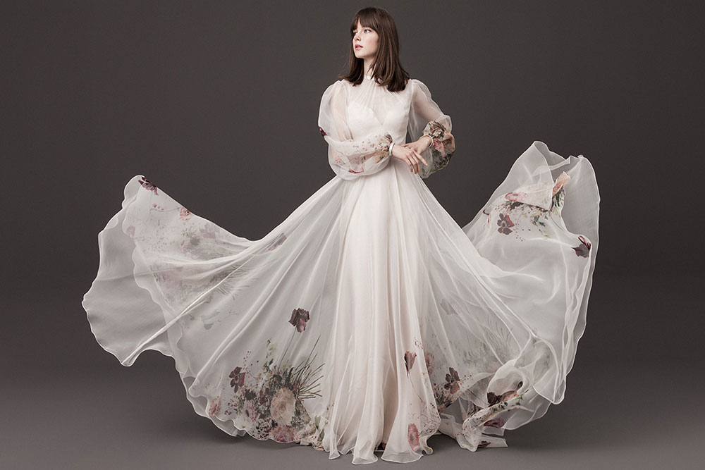 Floral wedding gown by Daalarna