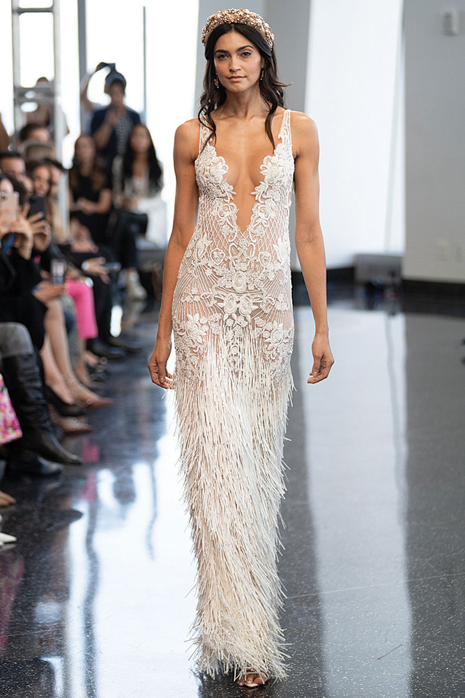Fringe wedding gown by Berta