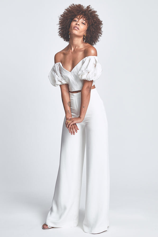 Wedding pantsuit by Alexandra Grecco