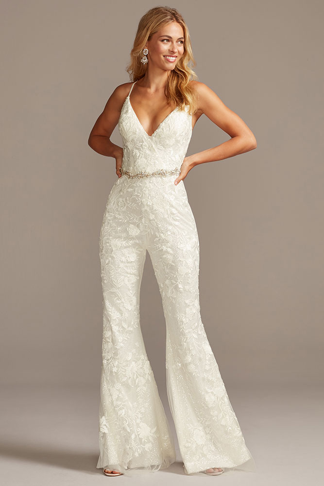 Wedding pantsuit by Davids Bridal