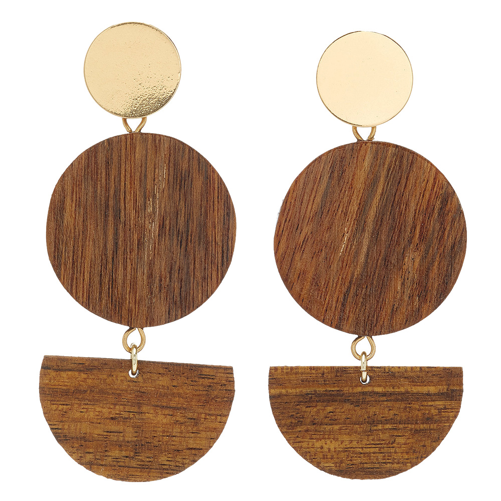 Gold and wood earrings by Sophie Monet