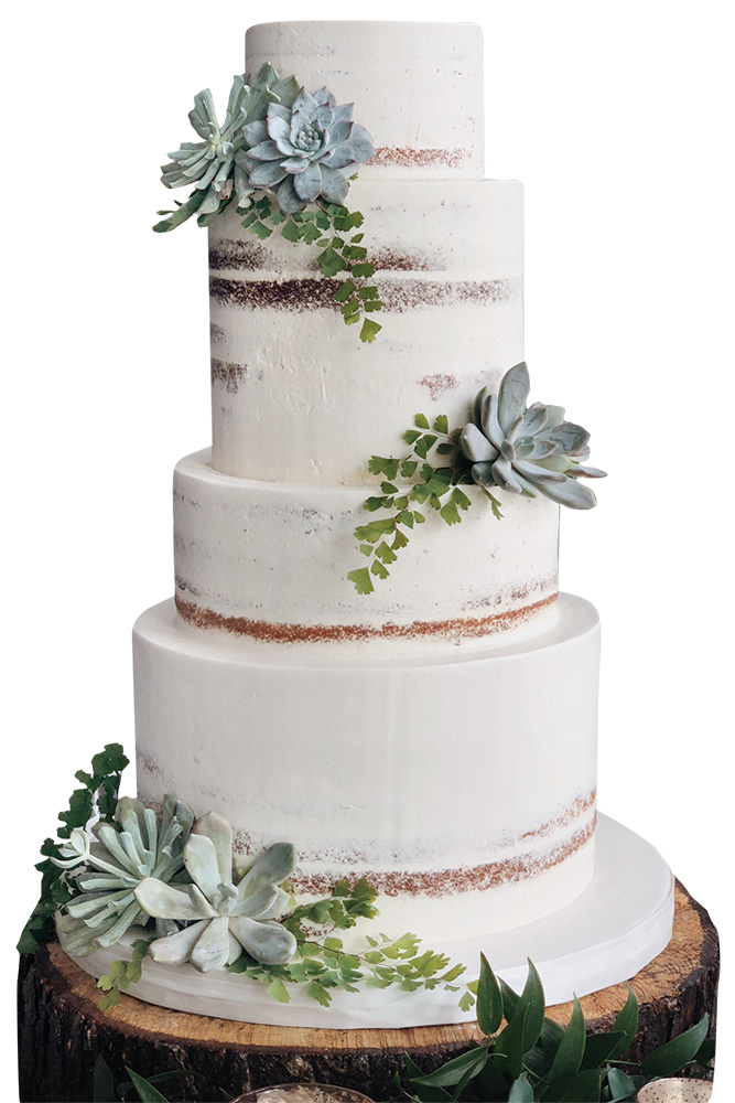 Naked wedding cake by Sweet Heather Anne