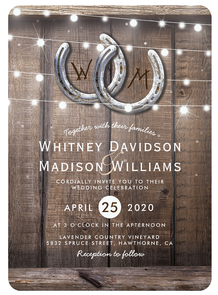 Wood and string light invite by Zazzle