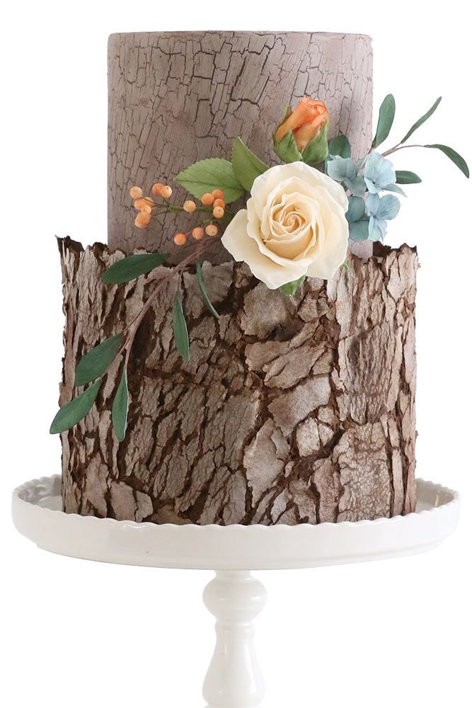wood inspired cake by zoe clark cakes