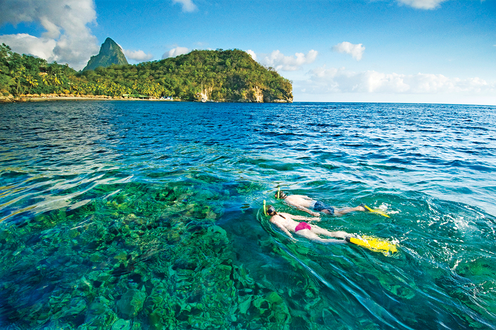 Snorkeling in St Lucia