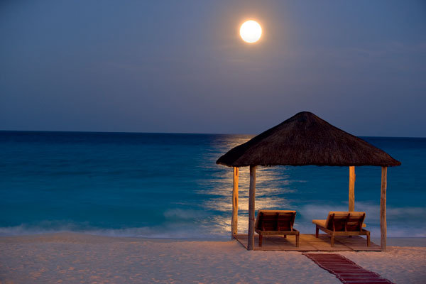 beautiful beach view at night