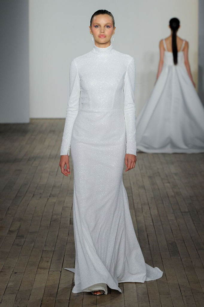 Wedding dress with sleeves and high neck