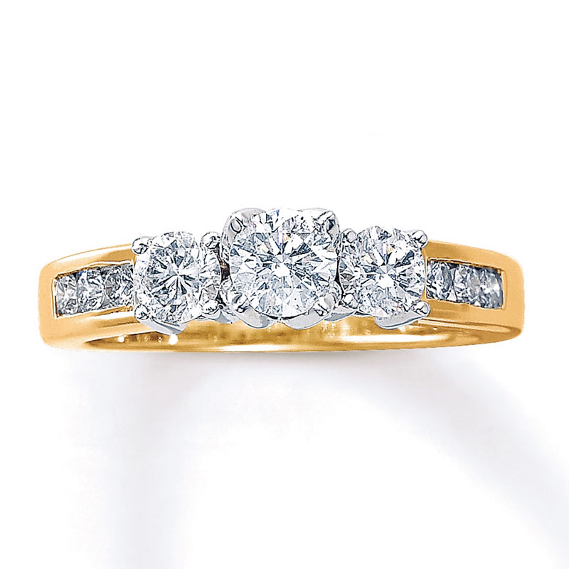 kay jewelers three-stone engagement ring