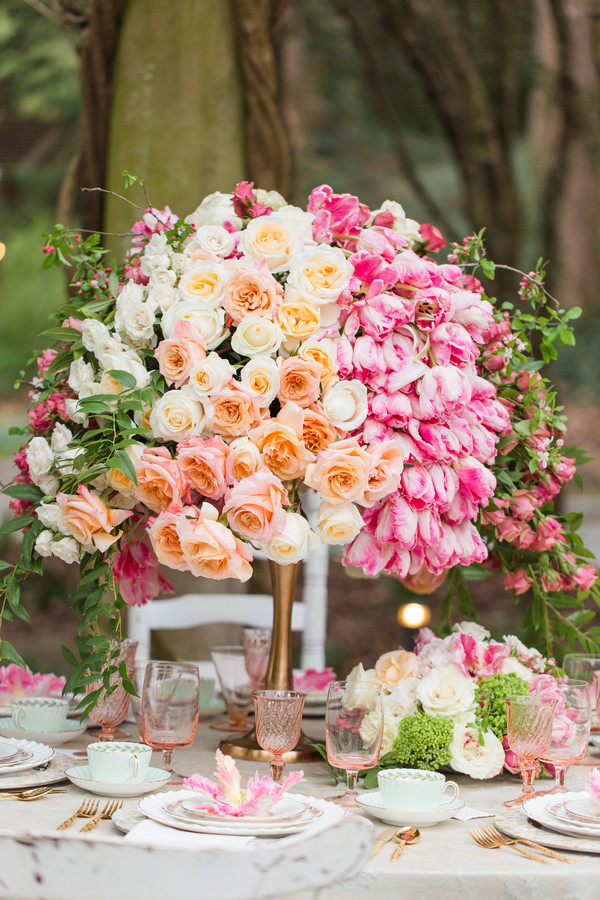 pink and orange wedding centerpiece