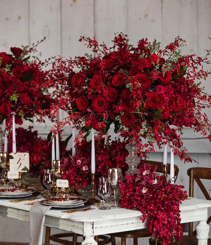 multi layered wedding centerpiece